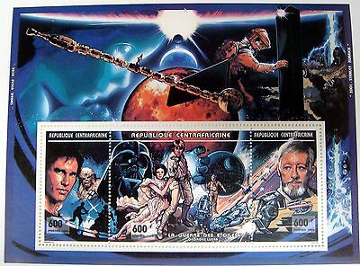 Star Wars Stamps Sheet Mnh Central Africa Princess Leia R2 D2 Skywalker Sci-Fi