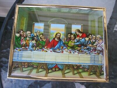 vintage  holy picture religious print with frame the last supper from italy