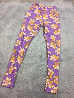 Lularoe Tween Girls Purple Yellow Floral Daffodil Leggings Easter Spring