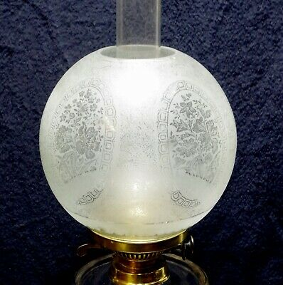 Clear Frosted And Etched 5 Panel Kerosene Oil Lamp Globe Shade