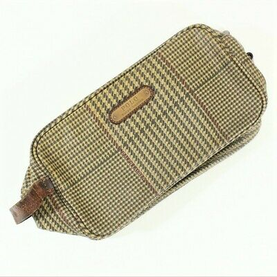 VTG Polo Ralph Lauren Plaid Leather Cosmetic Clutch Bag Case Hounds-tooth Used