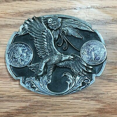 Vintage SISKIYOU Buffalo Indian Head Nickel Belt Buckle
