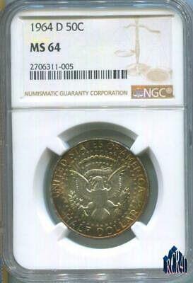 Beautiful Golden Toned 1964-D Ngc Ms-64 Kennedy Silver Half Dollar! Unique!  👀