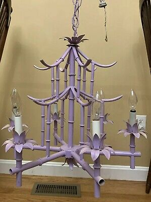 Vintage Italian Faux Bamboo Chandelier 6 Light Italy Purple Tole