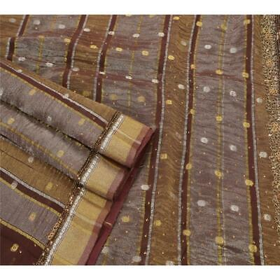 Cultural Vintage Saree Blend Georgette Hand Beaded Woven Fabric Premium Sari