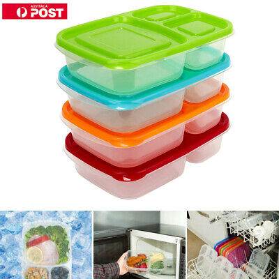 Set of 3/6 Meal Prep Containers 3-Compartment Lunch Boxes Food Storage with Lids