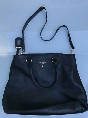f3209b7dcd13 Prada Soft Calf Black Leather Shopping Large Tote Bag Purse Handbag Reticule