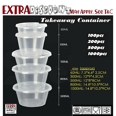 500ml Round Take away Containers Takeaway Food Plastic Lids Bulk