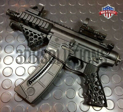 Tactical Rifle Pistol Grip Skeleton Cut Combo 3D Printed POLYBLEND CUSTOM COLORS