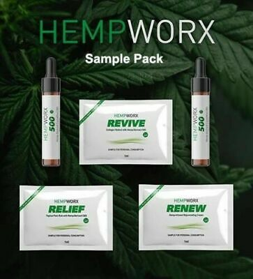 HEMPWORX SAMPLE TRIAL Packs 500mg Oils Renew Revive Relief Serum 100