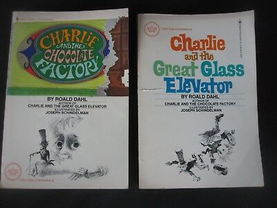 2 x Vintage CHARLIE & THE CHOCOLATE FACTORY (1977) GREAT GLASS ELEVATOR Dahl PB