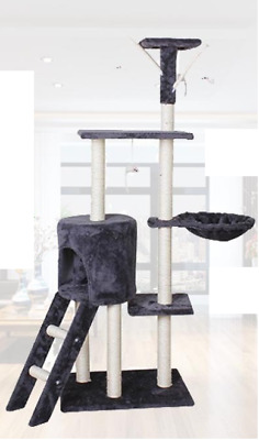 145 cm Dark Blue Cat Tree Multi Level Scratcher Pole Gym Toy House Furniture