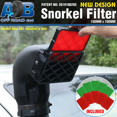 BLACK Universal Snorkel Pre Filter Cleaner 150mm x 100mm 2 x filters supplied