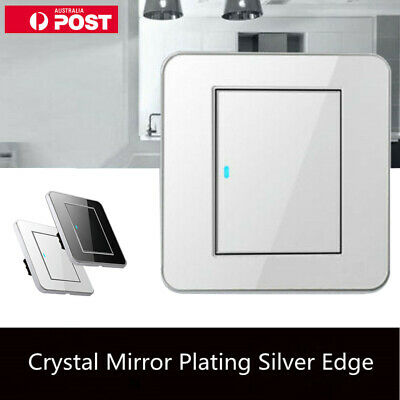1 Gang 1 Way Acrylic Crystal Mirror LED Light Wall Switch 16A  Push Button Panel
