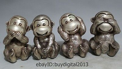 Lovely China Chinese Silver 4 Kinds Expression Posture Four Monkey Statue Set