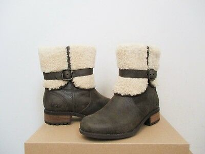 17c90ef82aa UGG WOMEN'S BLAYRE II Fur Cuff Boot 6.5US LODGE Dark Brown Leather NWB $200  MSRP