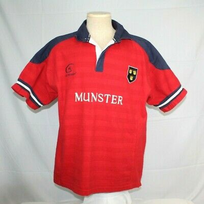 1bdcdb067e9 Munster Rugby Polo Shirt Ireland Live for Rugby Red Thick 1/4 Button Mens LG