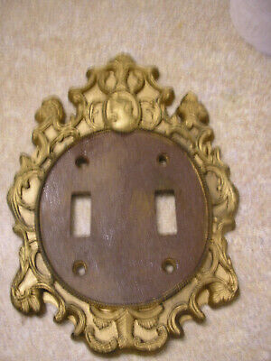 Vtg Ornate Gothic Victorian Cameo Double Switch Plate Cover