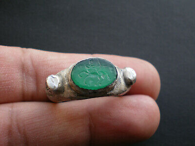 Rare Ancient ROMAN- GREEK Mythology Natural Gemstone SILVER Ring