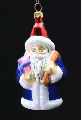 Radko Hand Painted Glass Christmas Ornament Small Santa Claus in a Blue Coat