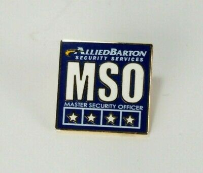 VINTAGE ENAMEL ALLIED Barton Security Services Master Officer Pin 4 Sta