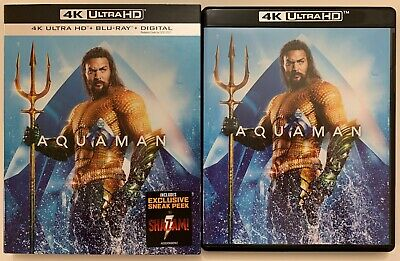 Dc Aquaman 4K Ultra Hd Blu Ray 2 Disc Set + Slipcover Sleeve Free World Shipping