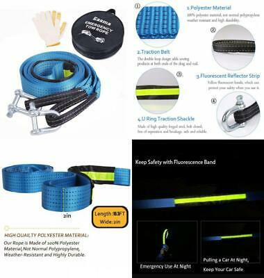 Tow Rope,Easma Car Heavy Duty Recovery Straps 17600Ib 5M With 2 Blue