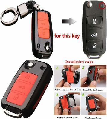 Happyit ABS Carbon Fiber Shell+Silicone Car Key Cover Case Keychain for...