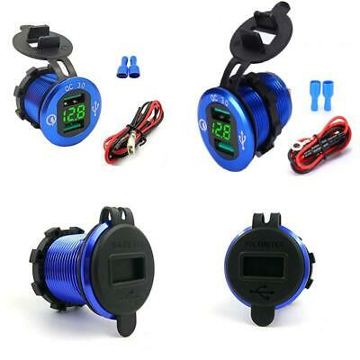 USB Car Socket Fast Charge Dual Charger 12V/24V 36W QC 3.0 Waterproof