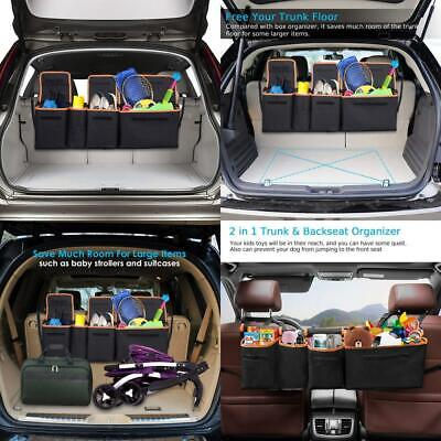 Car Boot Organiser, Heavy Duty Backseat Organiser w/600D Extra Thick Oxford...