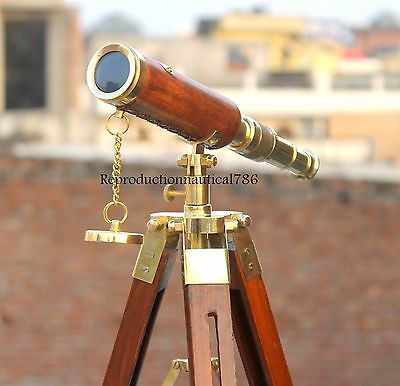Collectible Brass Leather Wrapped Telescope Spyglass With Tripod Marine Scope G