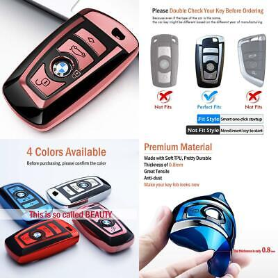 COVELL for BMW Key Fob Cover, Full Protection Soft TPU Rose Gold Cover