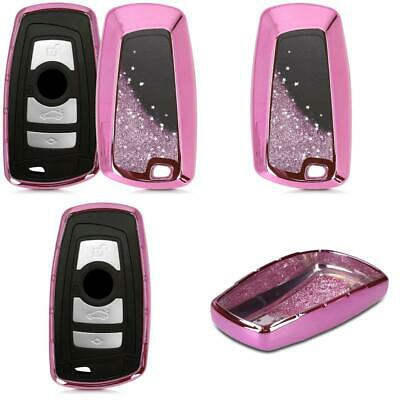 kwmobile Car Key Cover for BMW - .Stars Snow Globe dark pink / metallic