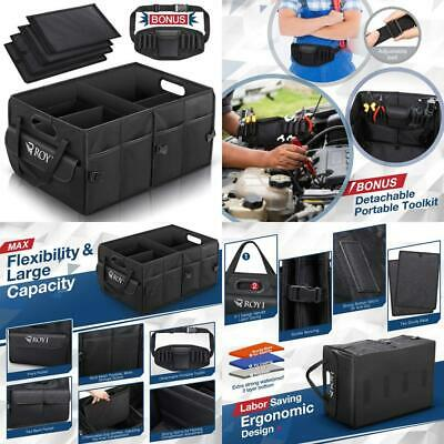 ROYI Car Trunk Organiser, Large Collapsible Sturdy Boot Storage with Black