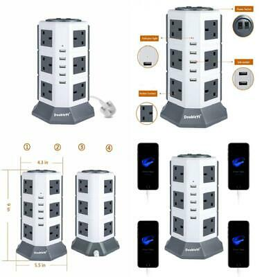 Extension Lead DoubleYI Socket 12 Gang 2M Cord 12 Way Outlet Surge Protector...