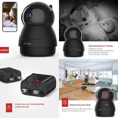 Victure 1080P FHD WiFi IP Camera Baby Monitor with Night Vision Motion Black