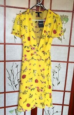 Pretty Yellow & Pink Floral Wrap Summer Dress - US Large - Never Used