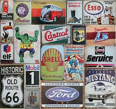 Vintage Style Tin Sign Wall Plaque Shell Motorcycles Pub Retro Metal Poster Bar