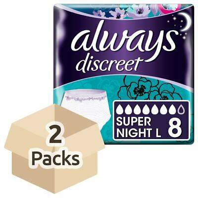 Always Discreet Incontinence Pants Super Night - Large - 2 Packs of 8