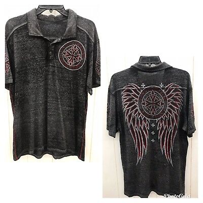 AFFLICTION Shirt Mens Large Black Short Sleeves Thin Fabric Red Design Wings