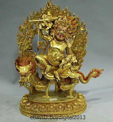 "13"" Tibet Buddhism Temple Bronze 24K Gold Seat Dragon White Jambhala Buddha"
