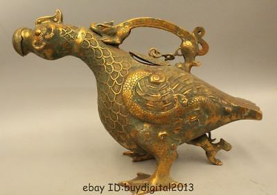 "20"" Old China Chinese Dynasty Bronze phoenix bird of wonder Zun Statue Sculpture"