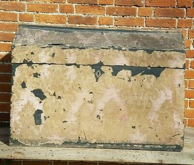 Antique trunk, 19th Century,Paper Covered, Old distressed embossed/flock velvet