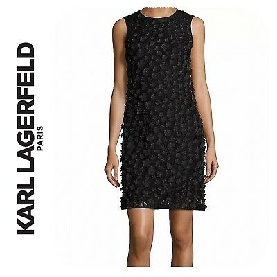 de4fe776 NWT $189 KARL Lagerfeld Paris Black Floral Applique Shift Dress Size ...