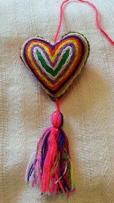 Handmade Mexican Embroidered felt rainbow Heart with tassel