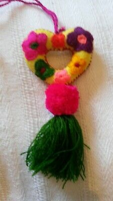 Handmade Mexican Embroidered felt Flower Heart with tassel and pom pom