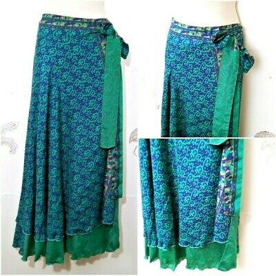 Tracy Feith Womens Full Length Maxi Skirt Purple Silk Paisley Curly Hem Size 2 Clothing, Shoes & Accessories