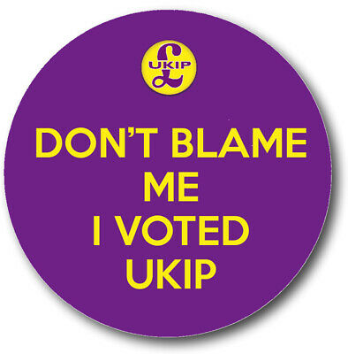 Don't Blame Me I Voted UKIP New Badge 58 mm Button Lapel Pin Brexit Independence