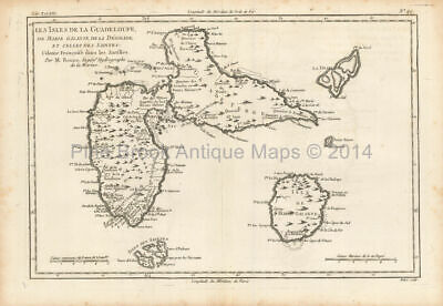Guadeloupe Antique Map Bonne 1780 Original