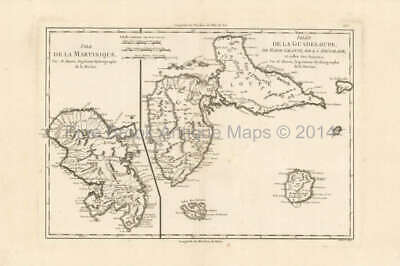 Guadeloupe Martinique Antique Map Bonne 1788 Original